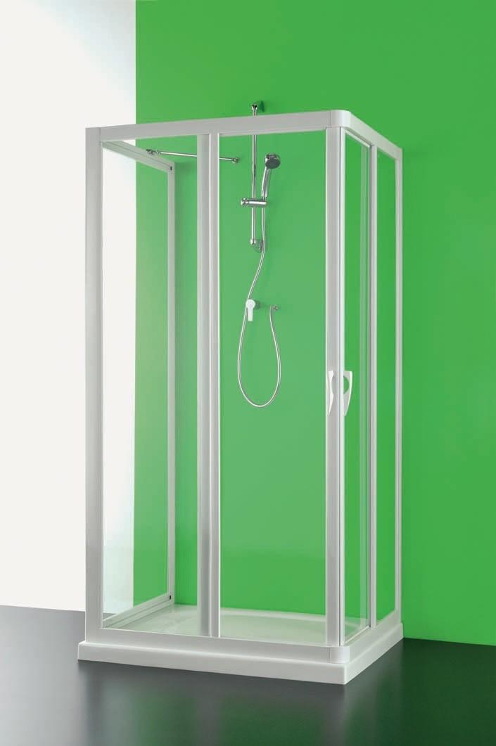 Čtvercový a obdélníkový sprchový kout VELA - 185 cm, 90 cm × 75 cm, Univerzální, Plast bílý, Polystyrol